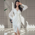 Dress / evening wear daily S,M,L,XL white Korean version Medium length High waist Spring 2021 Self cultivation Deep collar V zipper Rayon Under 17 Long sleeves Solid color routine 96% and above