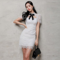 Dress Summer 2021 White, black S,M,L,XL Middle-skirt singleton  Short sleeve commute Polo collar routine Others Type H Bows, fringes polyester fiber