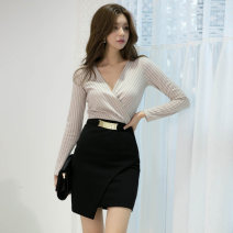 Dress Autumn 2020 Picture color S,M,L,XL Short skirt singleton  Long sleeves commute V-neck High waist Solid color zipper One pace skirt routine Others 25-29 years old Type H Korean version zipper brocade polyester fiber