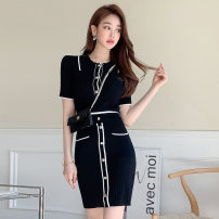 Dress Summer 2021 Black (suit) Average size Middle-skirt Two piece set Short sleeve commute Polo collar middle-waisted Solid color Socket other routine Korean version pocket 81% (inclusive) - 90% (inclusive) knitting other