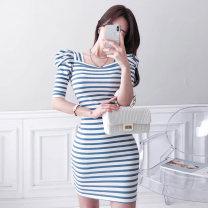 Dress Summer 2020 Blue and white stripes S,M,L,XL Short skirt singleton  commute square neck High waist stripe Socket Type X Other / other Korean version