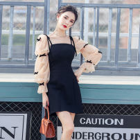 Dress Spring 2021 black S,M,L,XL Short skirt singleton  Long sleeves commute One word collar High waist Solid color zipper A-line skirt pagoda sleeve Others Type A Korean version Bowknot, lace, stitching, asymmetry, bandage, gauze polyester fiber