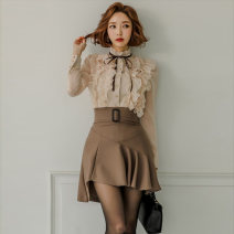 Dress Spring 2020 Picture color (suit) S,M,L,XL Short skirt Two piece set Long sleeves commute stand collar middle-waisted Solid color Single breasted Ruffle Skirt shirt sleeve Others Other / other Korean version 81% (inclusive) - 90% (inclusive) brocade nylon