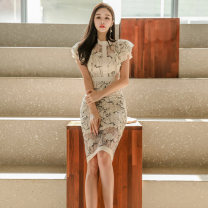Dress Summer of 2019 Off white S,M,L,XL Miniskirt singleton  Short sleeve commute stand collar middle-waisted other Socket One pace skirt Lotus leaf sleeve Others Other / other Korean version 31% (inclusive) - 50% (inclusive) Lace nylon