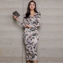 Dress Spring of 2019 Picture color S,M,L,XL longuette singleton  Long sleeves commute V-neck High waist Decor Ruffle Skirt routine Other / other Korean version