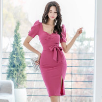 Dress Spring 2020 rose red S,M,L,XL Miniskirt singleton  Short sleeve commute V-neck High waist Solid color Single breasted Pencil skirt puff sleeve Type H brocade cotton