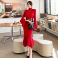 Dress Winter 2020 Black [belt], red [belt] Average size longuette singleton  Long sleeves commute High collar middle-waisted Solid color Socket One pace skirt other Korean version Splicing 81% (inclusive) - 90% (inclusive) knitting other