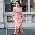 Dress Summer 2020 Light green, skin pink S,M,L,XL Miniskirt singleton  Sleeveless commute High waist Solid color Socket Ruffle Skirt camisole Type A Korean version