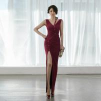Dress Spring 2021 claret S,M,L,XL Miniskirt singleton  Sleeveless commute High waist Solid color zipper Pencil skirt Type X Korean version