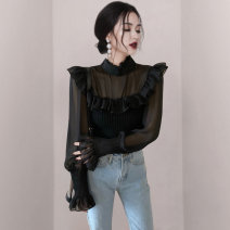 shirt Apricot, black S,M,L,XL polyester fiber 30% and below Long sleeves commute Regular stand collar Socket routine Solid color 25-29 years old Self cultivation Korean version Lotus leaf edge