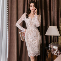 Dress Autumn of 2019 White, black S,M,L,XL Miniskirt singleton  Long sleeves commute V-neck middle-waisted Solid color Socket One pace skirt routine Others Other / other Korean version 81% (inclusive) - 90% (inclusive) Lace nylon