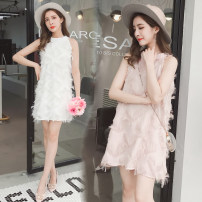 Dress Summer 2020 White, black, pink S,M,L,XL,2XL,3XL Short skirt singleton  Sleeveless commute Crew neck Loose waist Solid color Socket other other Others 18-24 years old Type A Korean version Tassel, lace