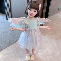Dress Blue, pink female Pengpeng 80cm,90cm,100cm,110cm,120cm,130cm Other 100% summer Korean version Short sleeve Solid color cotton Princess Dress tp522 Class B 18 months, 2 years old, 3 years old, 4 years old, 5 years old, 6 years old, 7 years old, 8 years old Chinese Mainland Zhejiang Province