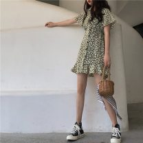 Dress Summer 2021 Red, green Average size Short skirt singleton  Short sleeve commute tailored collar Elastic waist Decor Single breasted Ruffle Skirt routine Others 18-24 years old Type A Korean version 31% (inclusive) - 50% (inclusive)