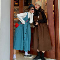 Dress Spring 2021 White shirt, black shirt, blue skirt, coffee skirt Average size Mid length dress Two piece set Sleeveless commute square neck High waist Solid color other other camisole 18-24 years old Type H Other / other Korean version 31% (inclusive) - 50% (inclusive) other