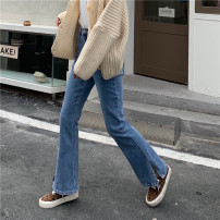 Jeans Spring 2021 blue S,M,L trousers High waist Flared trousers routine 18-24 years old Cotton denim light colour 71% (inclusive) - 80% (inclusive)