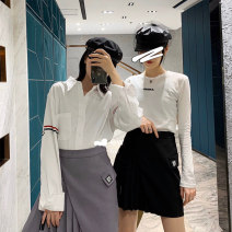 skirt Summer 2021 S,M,L Gray, black Short skirt commute High waist A-line skirt Solid color Type A 18-24 years old 30% and below brocade cotton Three dimensional decoration, asymmetry, splicing, 3D, pasting cloth Korean version
