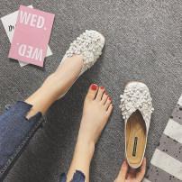 Low top shoes 35 36 37 38 39 40 41 42 43 QIANYIBAISHUN White Khaki black Square head Flat bottom Superfine fiber Shallow mouth Flat heel (1cm or less)