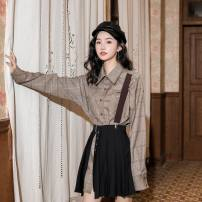 Dress Autumn of 2019 Check pattern Average size Mid length dress Two piece set Long sleeves commute square neck High waist lattice Single breasted A-line skirt routine Others 18-24 years old Type H Simplicity cotton