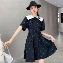 Dress Summer 2021 black S,M,L Miniskirt singleton  Short sleeve commute other High waist Dot Socket A-line skirt routine Others 18-24 years old Type A Other / other Korean version 31% (inclusive) - 50% (inclusive) other cotton