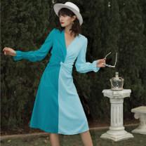 Dress Spring 2020 Blue, red S,M,L Mid length dress singleton  Long sleeves street V-neck High waist zipper A-line skirt pagoda sleeve Others Europe and America