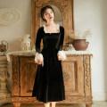 Dress Autumn of 2019 black S,M,L Mid length dress singleton  Long sleeves commute square neck High waist zipper Pencil skirt pagoda sleeve Type A Retro 91% (inclusive) - 95% (inclusive)