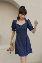 Dress Summer 2020 White, navy blue XS,S,M,L Short skirt singleton  Short sleeve commute square neck High waist Solid color Socket A-line skirt puff sleeve Breast wrapping Type A Retro printing