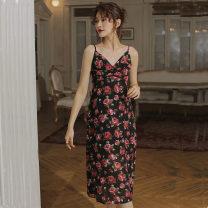 Dress Summer 2020 Black Rose S, M Mid length dress singleton  Sleeveless Sweet V-neck High waist Decor zipper A-line skirt camisole 18-24 years old Type X Fold, print