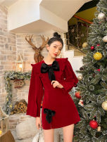 Dress Spring 2021 Red, emerald S,M,L Short skirt singleton  Long sleeves commute Doll Collar High waist Solid color Socket A-line skirt routine 18-24 years old Type A bow polyester fiber