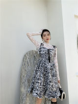 Dress Spring 2021 Crystal Silver and black S,M,L Short skirt singleton  Sleeveless commute One word collar High waist Decor Socket A-line skirt routine camisole 18-24 years old Type A printing Chiffon polyester fiber
