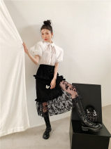 skirt Summer 2021 S, M Black skirt , white shirt longuette Versatile High waist A-line skirt Solid color Type A 81% (inclusive) - 90% (inclusive) polyester fiber Button, stitching