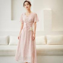 Dress Summer 2020 Rose powder S,M,L longuette singleton  Short sleeve commute V-neck High waist Decor zipper pagoda sleeve Type A Other / other Retro 31% (inclusive) - 50% (inclusive)
