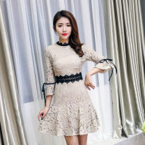 Dress Summer of 2019 Deep Khaki S,M,L,XL Short skirt singleton  three quarter sleeve commute Crew neck middle-waisted Solid color Socket A-line skirt pagoda sleeve Others 18-24 years old Type A Muqingqing Korean version 51% (inclusive) - 70% (inclusive) Lace Cellulose acetate
