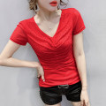 T-shirt M,L,XL,2XL,3XL Summer 2020 Short sleeve V-neck Self cultivation routine commute other 96% and above Korean version originality Solid color, stitching