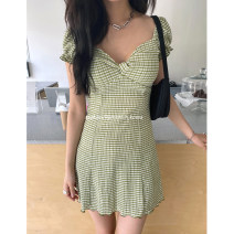 Dress Summer 2021 Black, green S, M Mid length dress singleton  Long sleeves Sweet square neck Elastic waist Broken flowers Socket Pleated skirt puff sleeve Others Type A other other