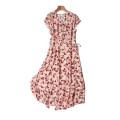 Dress Summer 2020 Cherry print Mid length dress singleton  Short sleeve commute V-neck Loose waist Decor A button other routine printing More than 95% Crepe de Chine silk