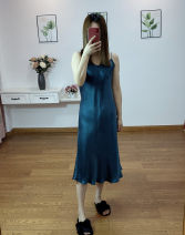 Dress Spring 2020 Peacock blue, dark gray, black, deep purple, Matcha L size is suitable for chest size less than 88cm, XL size is suitable for chest size less than 93cm longuette commute V-neck Solid color A-line skirt camisole 25-29 years old More than 95% Silk and satin silk