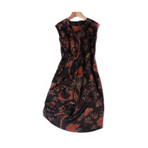Dress Summer 2020 Flower of wealth Mid length dress singleton  Sleeveless commute Crew neck Loose waist Decor Socket One pace skirt routine straps 30-34 years old Type H Simplicity Button, print, lace up More than 95% Silk and satin silk