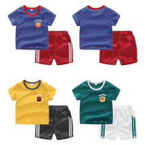 suit Top one kids male summer Korean version Short sleeve + pants 2 pieces Thin money No model Socket nothing other cotton children Expression of love Class B Cotton 95% polyester 5% 12 months, 18 months, 2 years old, 3 years old, 4 years old, 5 years old, 6 years old, 7 years old Chinese Mainland