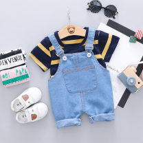 suit Other / other White, yellow, pink 80cm,90cm,100cm,110cm neutral summer Korean version other Thin money No model Cartoon animation cotton X wide strap short sleeve Class A 3 years old Chinese Mainland