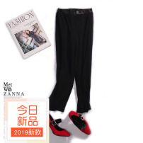 Casual pants Light grey, black Spring of 2018 Ninth pants Wide leg pants Natural waist commute routine 25-29 years old 96% and above other Britain fold Viscose