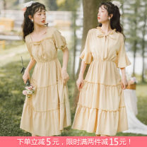 Dress Summer 2021 S,M,L,XL,2XL longuette singleton  Short sleeve Sweet square neck Elastic waist Solid color Socket Big swing puff sleeve Others Type A Bowknot, fold, Auricularia auricula, stitching, bandage 31% (inclusive) - 50% (inclusive) Chiffon Mori