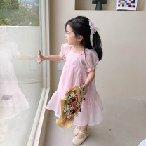 Dress Pink, blue female Other / other 80cm,90cm,100cm,110cm,120cm,130cm Other 100% summer Korean version Short sleeve Solid color cotton Princess Dress NB-21151L Class B Two, three, four, five, six, seven, eight, nine Chinese Mainland Zhejiang Province Huzhou City