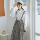 skirt Spring 2021 S,M,L grey Mid length dress commute Natural waist A-line skirt lattice Type A 18-24 years old 71% (inclusive) - 80% (inclusive) brocade cotton Bowknot, embroidery, bandage literature