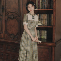 Dress Summer 2021 Red, green S,M,L Mid length dress singleton  Short sleeve commute stand collar High waist lattice Socket A-line skirt Petal sleeve Others 18-24 years old Type A Korean version Button, button 20219733# 81% (inclusive) - 90% (inclusive) brocade cotton