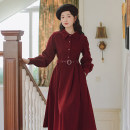 Dress Spring 2021 claret S,M,L,XL Mid length dress singleton  Long sleeves commute Polo collar High waist Solid color Single breasted A-line skirt shirt sleeve Others 18-24 years old Type A literature 81% (inclusive) - 90% (inclusive) brocade cotton