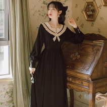 Dress Autumn 2020 black S,M,L Mid length dress singleton  Long sleeves commute Admiral High waist Solid color Socket A-line skirt bishop sleeve Others 18-24 years old Type A literature Bowknot, Auricularia auricula, resin fixation 20209636-2 71% (inclusive) - 80% (inclusive) brocade cotton
