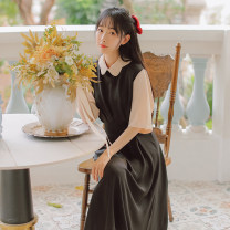 Dress Summer 2021 S,M,L longuette singleton  Short sleeve commute Polo collar middle-waisted Solid color zipper Big swing routine Others 18-24 years old Type A literature Splicing, bandage 71% (inclusive) - 80% (inclusive) brocade polyester fiber