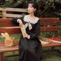 Dress Autumn 2020 Black, blue S,M,L,XL Mid length dress singleton  Long sleeves commute Admiral High waist Solid color Socket A-line skirt routine Others 18-24 years old Type A literature Bowknot, resin fixation 71% (inclusive) - 80% (inclusive) brocade cotton