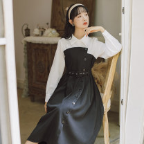 Dress Spring 2021 black S,M,L Mid length dress singleton  Long sleeves commute Polo collar High waist Solid color Socket A-line skirt routine Others 18-24 years old Type A literature Button, button 20209551-1 71% (inclusive) - 80% (inclusive) brocade cotton